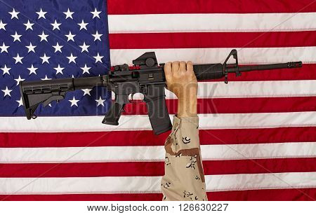 Ar15 M4A1 Soldier Man With  M16 Style Weapon Automatic Rifle On Usa Flag