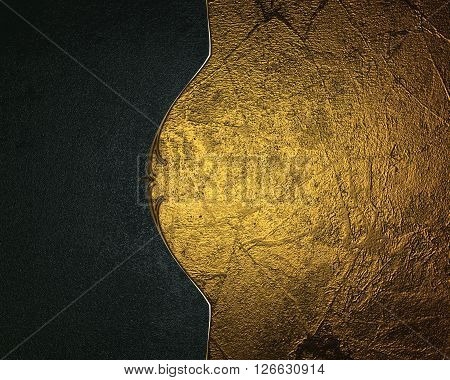 Grunge Gold Background With A Blue Edge. Template For Design. Copy Space For Ad Brochure Or Announce