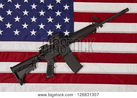 Ar15 M4A1 M16 Style Weapon Automatic Rifle On Usa Flag