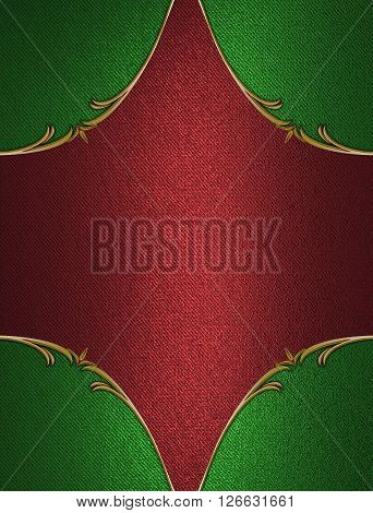 Red Plate With Gold Trim And Green Inserts. Template For Design. Copy Space For Ad Brochure Or Annou