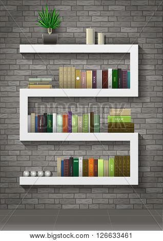 Shelf with books in the interior of the loft on the background of a gray old brick wall. Vector graphics.