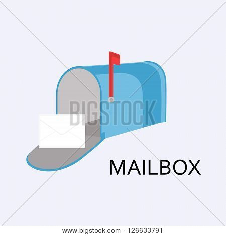Vector illustration blue mail box with red flag and message letter envelope on grey background. Mailbox icon flat design