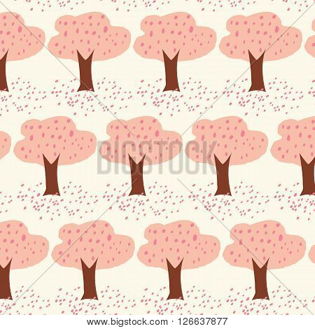 Cherry Blossom tree with petal drop on the ground seamless illustration vector background