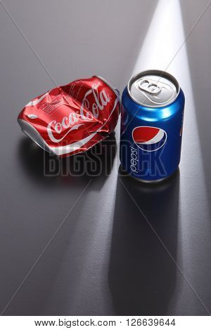 Kuala Lumpur,Malaysia -April 13 2016, Coca Cola and Pepsi Cola, the two giants of cola beverage market. Here is Pepsi Cola illustrated as the dominant over Coca Cola
