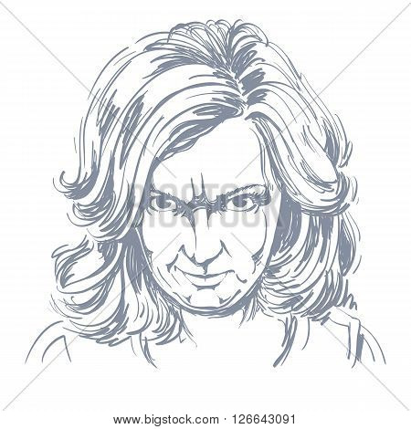 Hand-drawn Portrait Of White-skin Arrogant Woman With Wrinkles On Her Forehead, Face Emotions Theme
