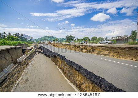 Portoviejo, Ecuador - April, 18, 2016: Cracked road after 7.8 earthquake.