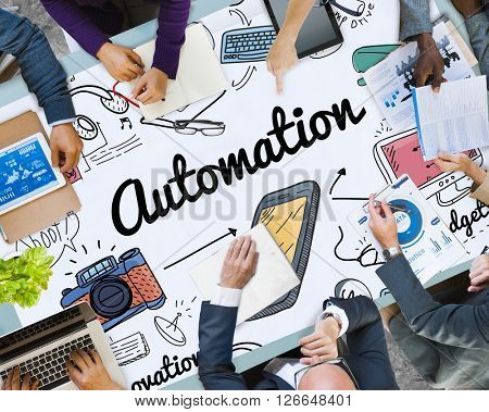 Automation Machine Electronic Technology Concept poster