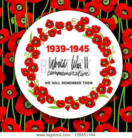 War commemorative card with barbed wire and poppies for design banner,ticket, leaflet and so on. Template page.