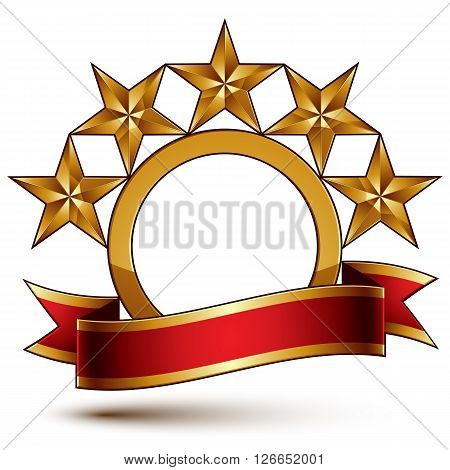 Majestic vector golden ring isolated on white background 3d polished five golden stars. Heraldic branded symbol with festive red ribbon. Dimensional glossy decorative stars elegant shaped blazon. Eps8.
