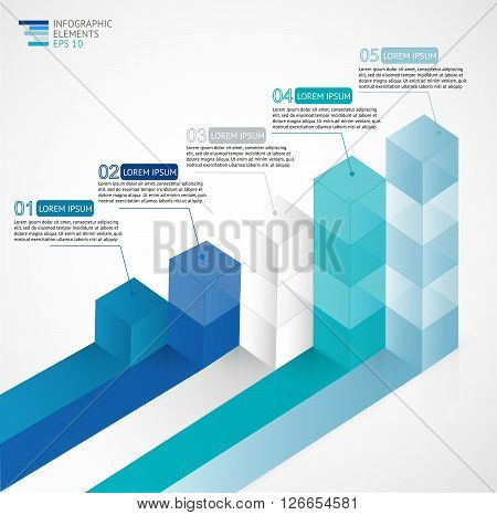 3D growing infographic bar chart diagram for financial, analytics, statistics reports and web design in blue colors. Vector illustration.