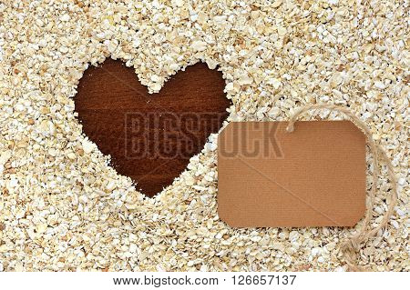 Frame Of Oat Flakes In The Form Of Heart And Blank Paper Sticker