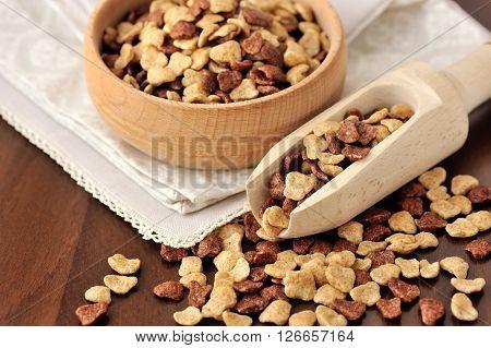 Assorti Breakfast Cereals In Wooden Bowl On Wooden Background