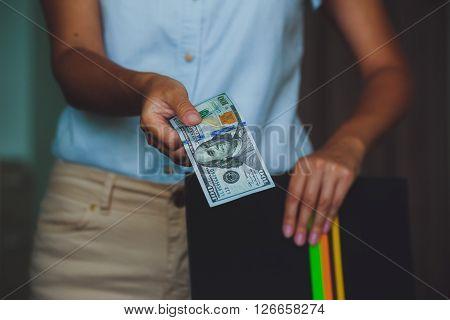 Money In Human Hands, Women Giving Dollars