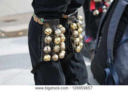 Morris Dancers British Tradition Knee Bells