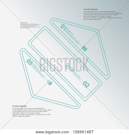 Illustration infographic template with motif of hexagon which is askew divided to three blue parts created by double contour outlines. Each item contains number text and simple sign. Background is light.