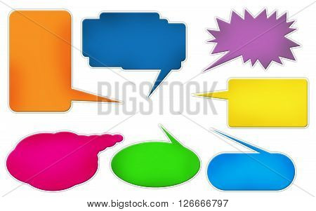 Colored comic text bubbles templates isolated over white background
