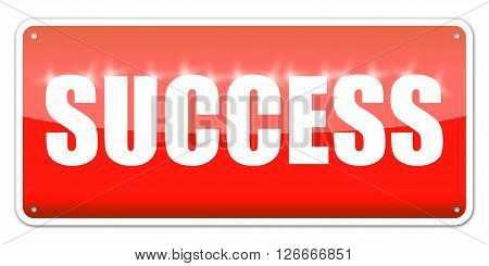 Red card Success isolated over white background