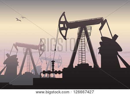 Vector illustration of Working Oil Pumps and Drilling Rig Oil Pump Petroleum Industry
