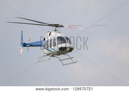 Helicopter in flight right after it's take-off