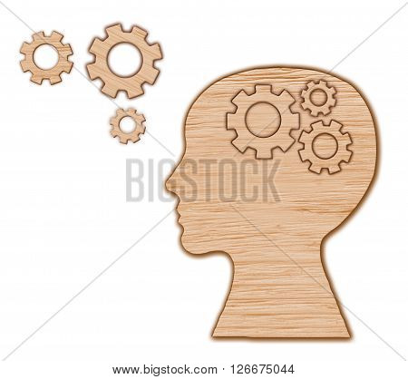 Head made from gears and cogs. Brain activity concept.