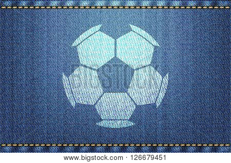 Soccer Ball On Blue Jeans Background