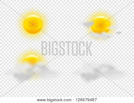 Sun and clouds in weather icons set. Weather signs with transparent grid. Vector Illustration