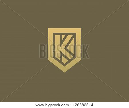 Abstract letter K shield logo design template. Premium nominal monogram business sign. Universal foundation vector icon