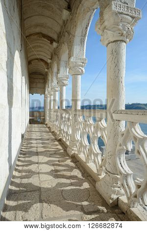 LISBON PORTUGAL - FEBRUARY 02 2016: Belem Tower is a fortified tower located in the civil parish of Santa Maria de Belem in the municipality of Lisbon Portugal.