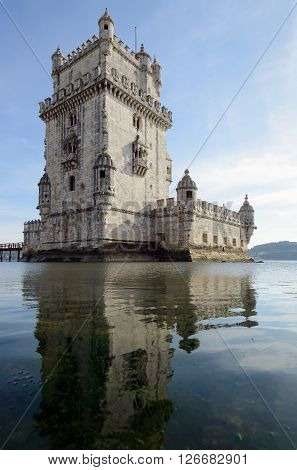 Belem Tower is a fortified tower located in the civil parish of Santa Maria de Belem in the municipality of Lisbon Portugal.