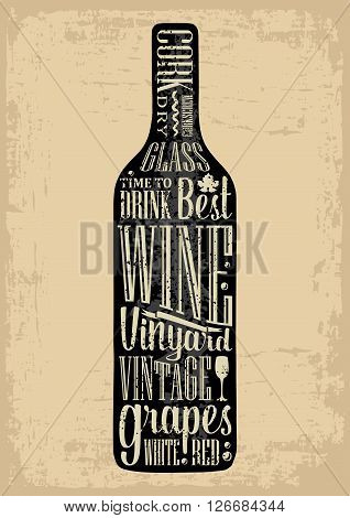 Typography poster lettering text in silhouette Wine bottle. Vintage vector engraving illustration. Advertising design for pub on brown old paper background.