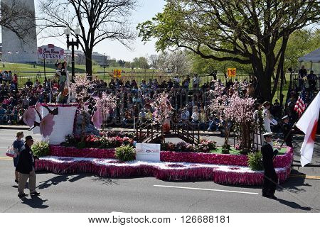 WASHINGTON, DC - APR 16: Colorful float at the 2016 National Cherry Blossom Parade in Washington DC, as seen on April 16, 2016. Thousands of visitors gathered to attend this annual event.