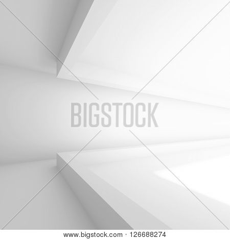 Abstract Interior Background. 3d White Empty Room. Modern Architecture Design