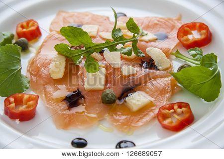 Salmon Carpaccio On Plate