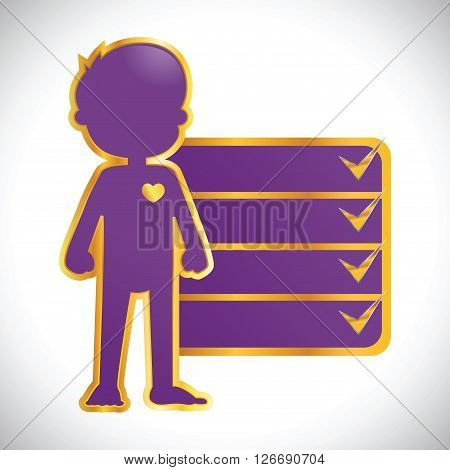 Vector stock of purple with golden outline of little boy body icon