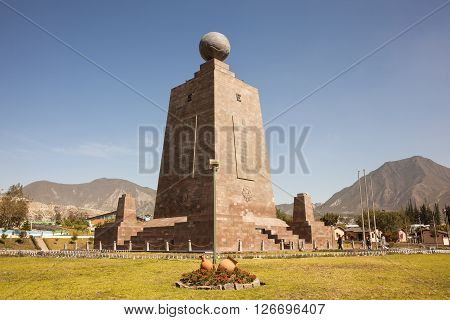 Middle of the World Monument one of the most visited by tourists from worldwide locations Quito Ecuador.