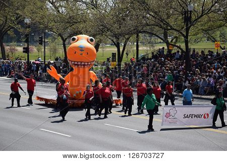 WASHINGTON, DC - APR 16: Balloon float at the 2016 National Cherry Blossom Parade in Washington DC, as seen on April 16, 2016. Thousands of visitors gathered to attend this annual event.