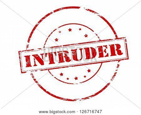 Rubber stamp with word intruder inside vector illustration