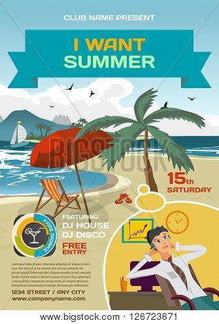 Vector summer party invitation lounge dreaming office worker. Umbrella palm tree and lounge on a beach in summer to posters invitations or flyers. Vector template flat summer party poster.