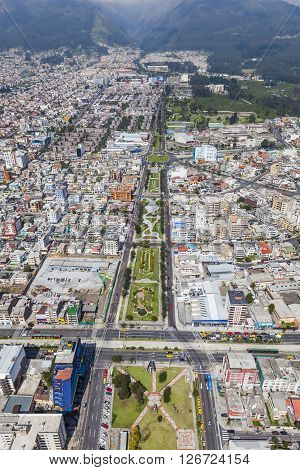 Aerial view of north central Quito sector. Av. Mariana de Jesus.