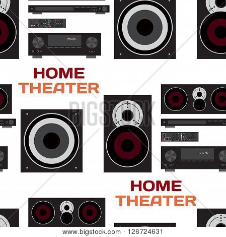 Seamless textile pattern with home theatre flat vector illustration for music lovers. Loudspeakers player receiver subwoofer remote background home theatre