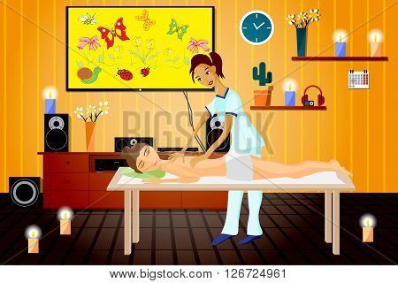 Vector illustration of woman pampering herself by enjoying day spa massage back massage wellness salon in thailand interior darkened with candles and home theater