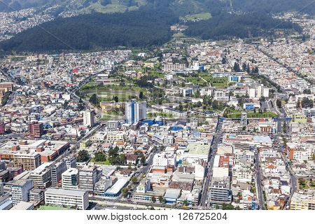 Aerial view of the northern sector of Quito center and the campus of the Central University of Ecuador.