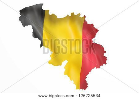 Silhouette Of Belgium Map With Flag
