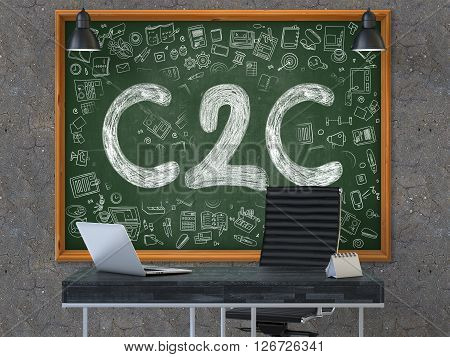 C2C - Consumer to Consumer - Handwritten Inscription on Green Chalkboard with Doodle Icons Around. Business Concept in the Interior of a Modern Office on the Dark Old Concrete Wall Background. 3D.