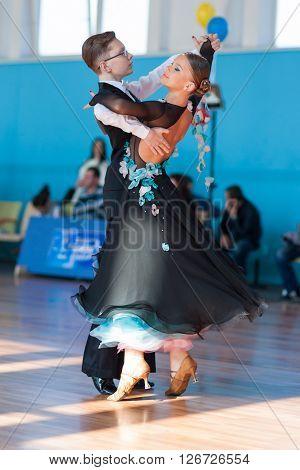 Minsk Belarus -April 3 2016: Mahnach Nikita and Karchevskaya Yuliya Perform Youth-2 Standard Program on the IDSA Championship Kinezis Star Cup - 2016 in April 3 2016 in Minsk Republic of Belarus