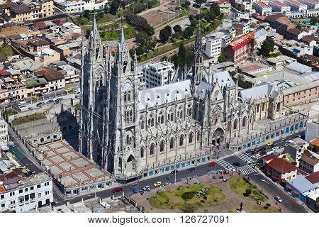 Aerial view of the Basilica del Voto Nacional in Quito