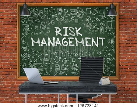 Green Chalkboard on the Red Brick Wall in the Interior of a Modern Office with Hand Drawn Risk Management. Business Concept with Doodle Style Elements. 3D.
