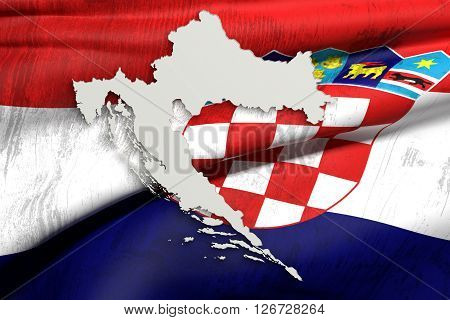 Silhouette Of Croatia Map With Old Flag Inside