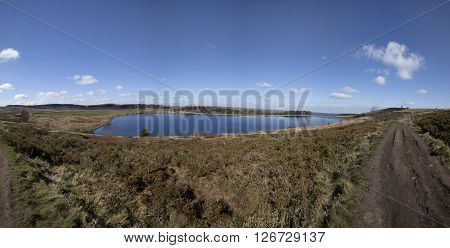 Panorama of Redmires reservoir in Sheffield, United kingdom poster