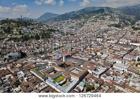Aerial view of the colonial town of Quito, Independence Square, Government Palace, Cathedral and Plaza de San Francisco, Cultural Heritage.